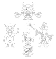 Fantasy heroes outline set vector image