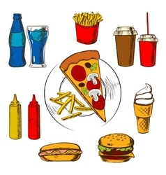 Fast food snacks dessert and beverages vector image