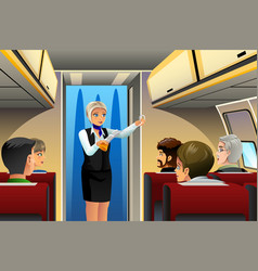 Flight attendant doing safety demonstration vector
