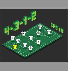 Football 4-3-1-2 formation with isometric field vector