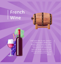 french wine poster with icons vector image