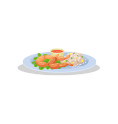 frog legs with garnish on a plate delicious dish vector image