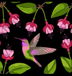 fuchsia and hummingbird embroidery seamless vector image