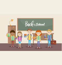 girls and boys students with education supplies vector image