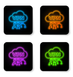 glowing neon cloud vpn interface icon isolated on vector image