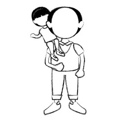 grandfather with grandson avatars vector image