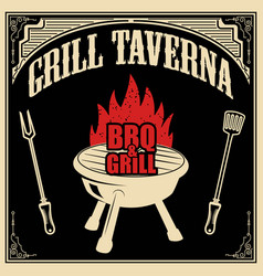 Grill taverna bbq and grill design element for vector