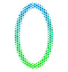 Halftone blue-green contour ellipse icon vector