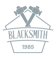 hammer blacksmith logo simple gray style vector image
