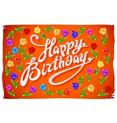 Happy Birthday Card flower tulip vintage orange vector image