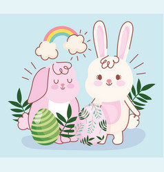 happy easter pink and white bunnies eggs foliage vector image