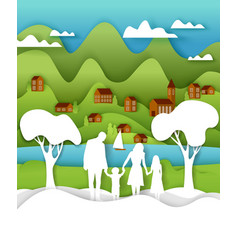 happy family outdoors activity vector image