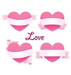 Heart With Ribbon Banner Set vector image vector image