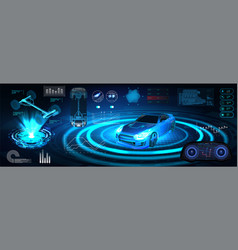Hologram auto in hud ui style vector