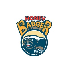 Honey Badger Mascot Claw Circle Retro vector image