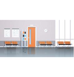 Hospital corridor waiting hall with information vector