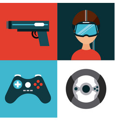 Icons set virtual reality vector