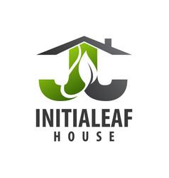 initial letter jj leaf house logo concept design vector image