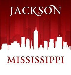 Jackson Mississippi city skyline silhouette vector image