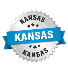 Kansas round silver badge with blue ribbon vector image