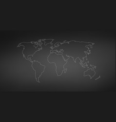 linear world map editable stroke isolated on vector image