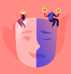 man and woman sitting on huge mask separated on vector image
