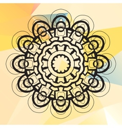 Mandala on triangles background vector