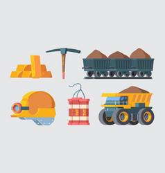 mine quarry equipment set column trolleys filled vector image