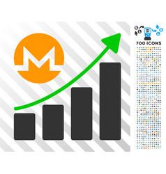 monero growing graph trend flat icon with bonus vector image