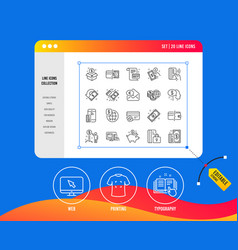 Money line icons set of update credit card vector