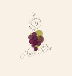 music bar logo bunch grapes treble clef vector image