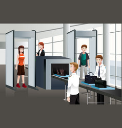 passengers walking through security check vector image
