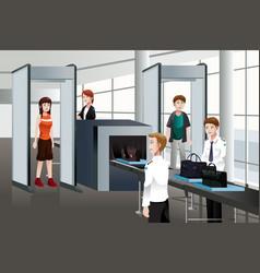 Passengers walking through security check vector