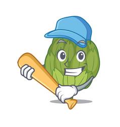 Playing baseball artichoke character cartoon style vector
