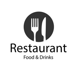 Restaurant food drinks logo fork knife backgroun vector