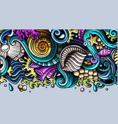 sea life hand drawn doodle banner cartoon vector image