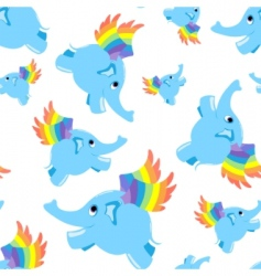 seamless pattern blue flying elephant vector image