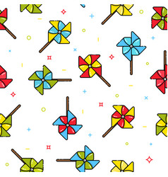 seamless pattern of colorful child toy windmills vector image