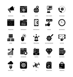 Seo glyph icons pack vector