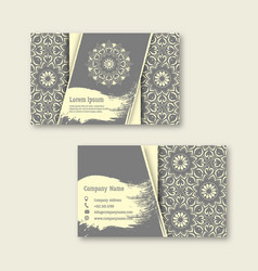 Set business visiting greeting cards with hand vector