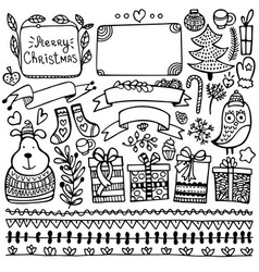 Set of bullet journal doodle christmas elements vector