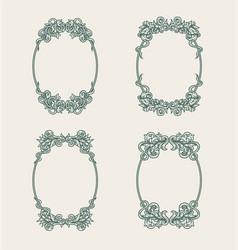 set vintage oval ornamental frame vector image