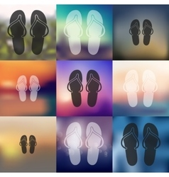 slippers icon on blurred background vector image