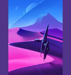spaceships flying over desert vector image