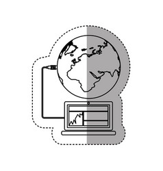 sticker silhouette laptop global hosting database vector image