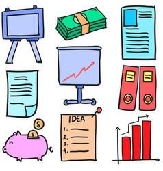 Stock of business object doodles vector