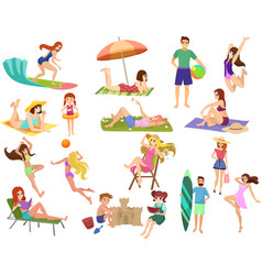 Summer beach cartoon anime people outdoor vector