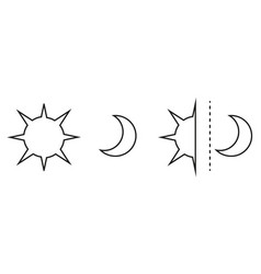 sun and moon flat icon sign sun and moon logo for vector image