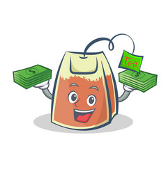 tea bag character cartoon with money vector image