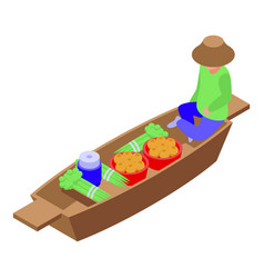 Thai floating market icon isometric style vector